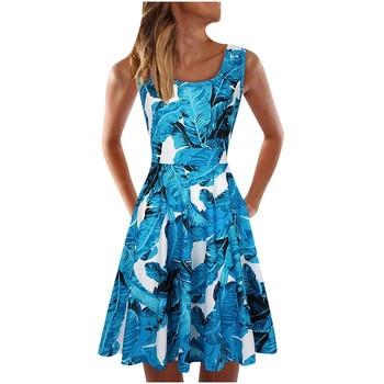 Summer dress Women Casual Sleeveless Dress O-neck Summer Print Dress For Beach vetement femme dresses Autumn Beach Casual Dresses Elegant Dresses Evening Knee-Lenght Mini O Neck Print Dresses Sexy Sleeveless Slim Summer Women Color: Blue Size: L