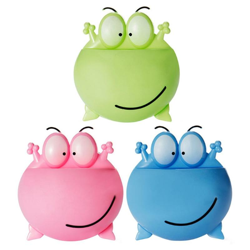 Cartoon Frog Sucker Toothbrush Holder Household Rack Shelf Bathroom Accessories Safety Environmental Protection Durability
