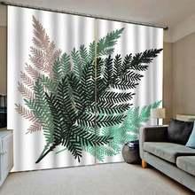 Короткие современные занавески с фотопечатью листьев дерева
