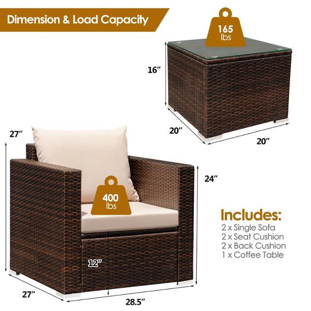 3PCS Patio Rattan Furniture Conversation Set  2
