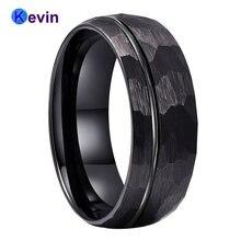 Черный обручальное кольцо вольфрамовое Кольцо мужское с кованым