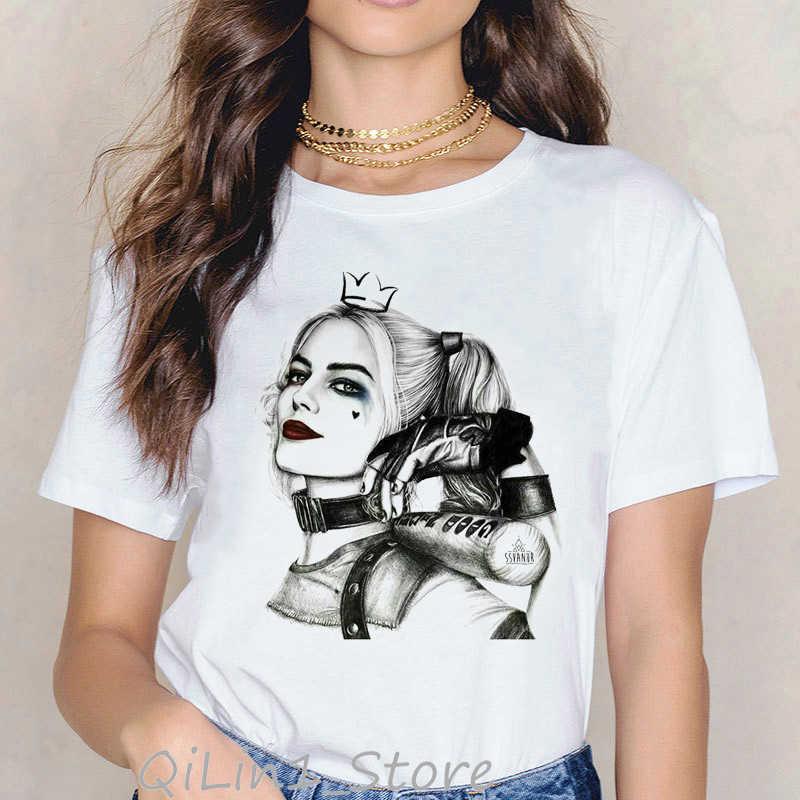 Joker Tự Sát Đội Hình Gợi Cảm Harley Quinn In Hình Hoạt Hình Ngộ Nghĩnh T Áo Sơ Mi Nữ Kawaii Màu Nước Thiết Kế Áo Thun Femme Áo Thun Nữ