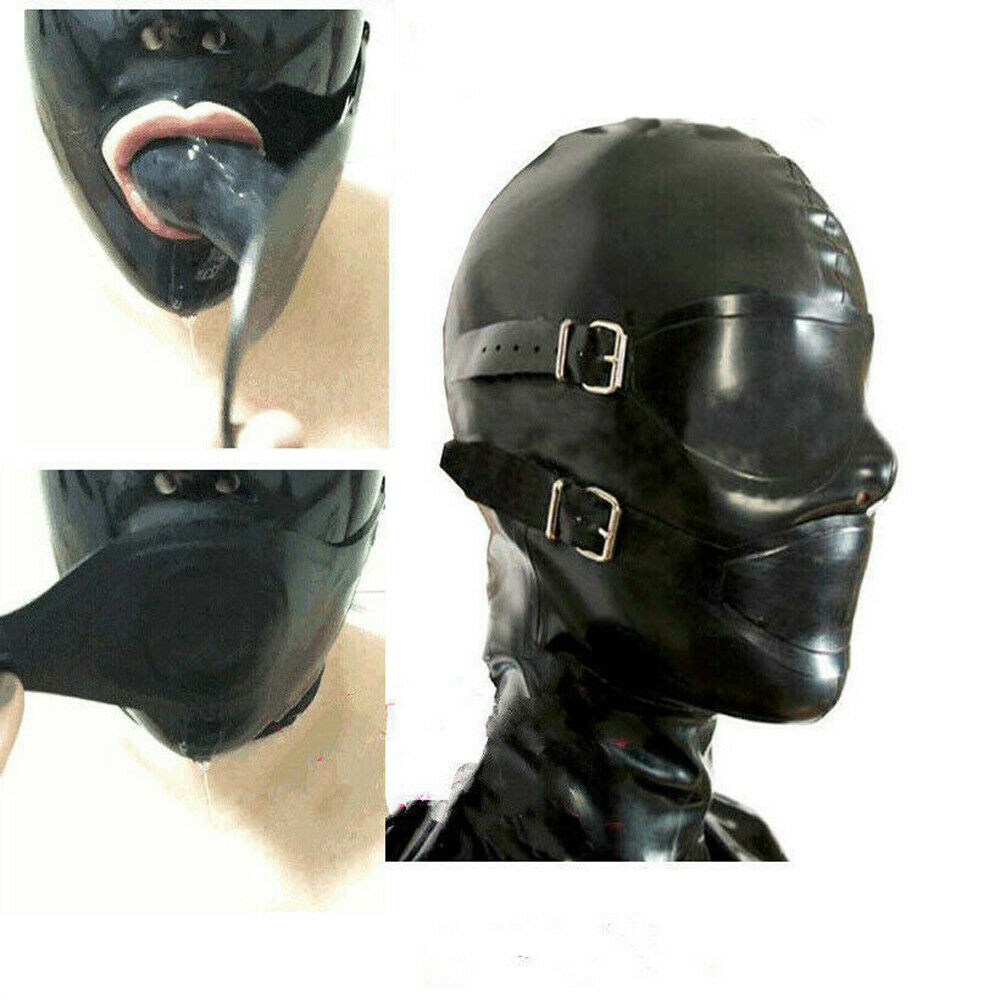Hot Selling Latex Rubber Full Enclosure Hood Rubber Hood With Eyeshade And Gag