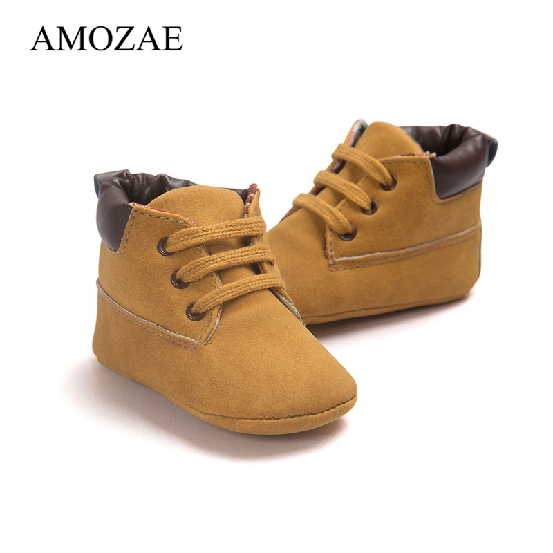 2019 Spring / Autumn Infant Toddler Baby Boy Soft Sole PU Leather First Walker Indoor Shoes 0-18 Months