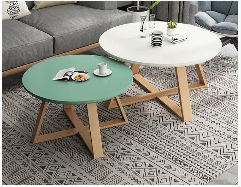 Nordic simple casual small coffee table corner table living room home small apartment simple solid wood round ins coffee table