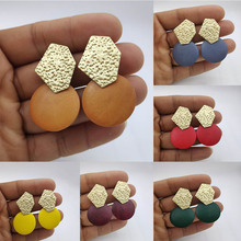 Minimalist Dumb Gold Leopard Earrings Irregular Metal Geometric Round Pendant Wood Womens 2020