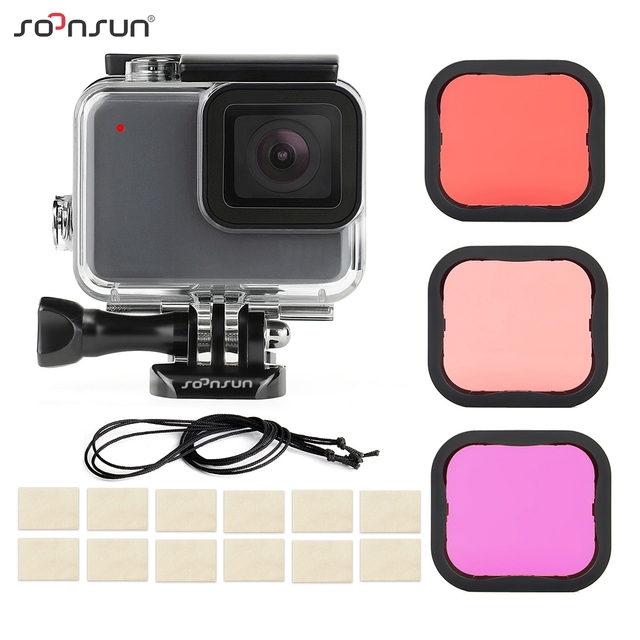 SOONSUN 40m Waterproof Underwater Protective Housing Case with 3 Pack Diving Lens Filter for GoPro Hero 7 Silver/White Go Pro 7