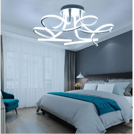 Simple Modern Acrylic Art Chandelier LED Ceiling Lamp Living Room Study Bedroom Home Decoration LED Ceiling Lamp 3/6/8 Head