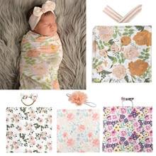 Blanket Headband-Set Wrap Receiving Floral Swaddle Sleeping-Bag Baby Bedding Newborn