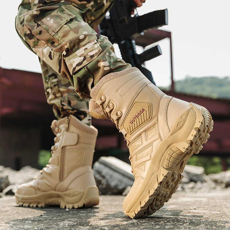 UEXIA Nuovo Calzature Tattico Militare Mens Stivali Special Force Combattimento Desert Boots Alla Caviglia di Boot Dell'esercito Degli Uomini di Cuoio delle Scarpe Più Il Formato 39-47