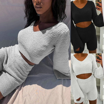 Plush Two Piece Set Women Outfits V Neck Sweater Long Sleeve Clothing Set Crop Top And Shorts Autumn Casual Tracksuit Sets D30 bomblook sexy off shoulder plush two pieces set long sleeve tube crop top 2020 fashion shorts skirt casual clothing streetwear