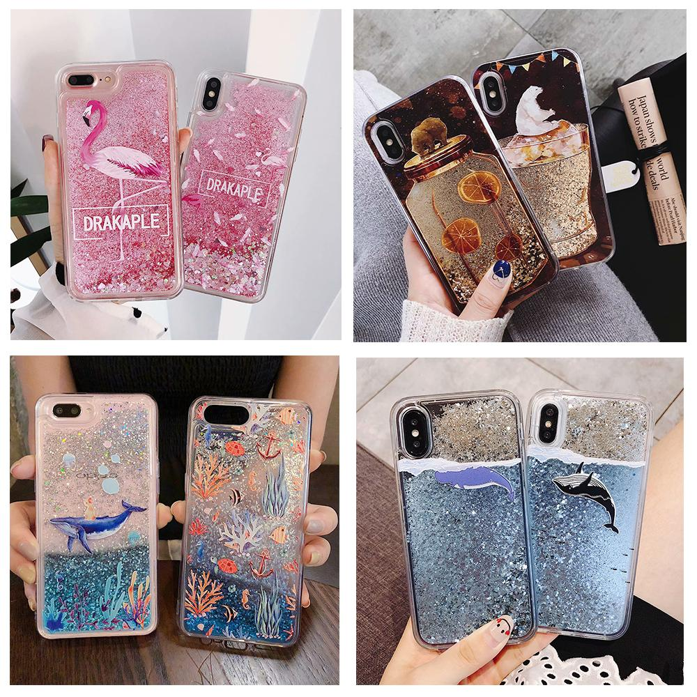 Water Liquid Case for iPhone 11 Pro XS Max XR XS 7 8 6 6s Plus Dolphin Whale Fish Floral Flamigo Quicksand Glitter Soft Cover