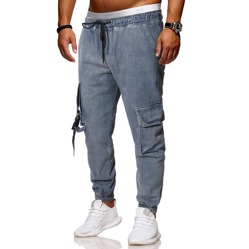 Casual Large Pocket Webbing Cowboy Cargo Trousers Men Loose And Plus-sized Ankle Banded Pants