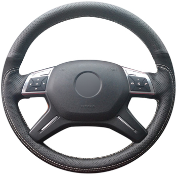 Hand-stitched Black Genuine Leather Suede Soft Comfortable Car Steering Wheel Cover for Mercedes-Benz GL350 ML350