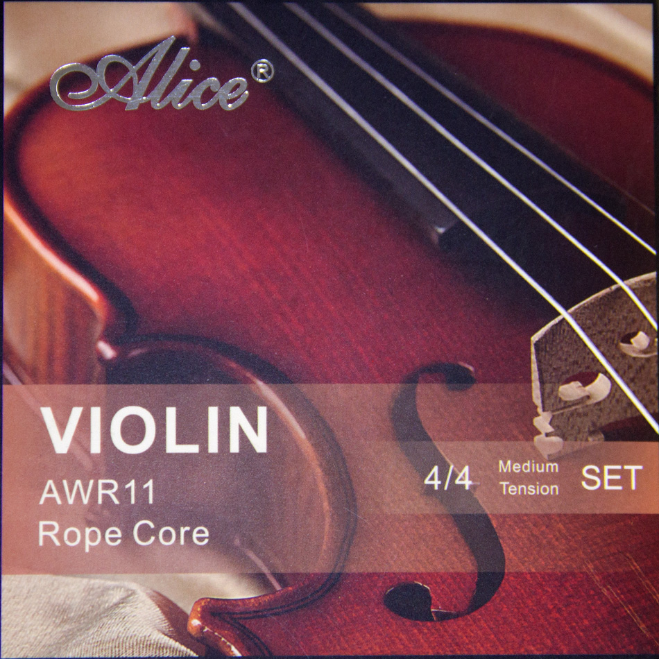 NEW  High Quality Alice Violin Strings  AWR11 Rope Core Formulated For Excellence 4/4 Meddium Tension Set