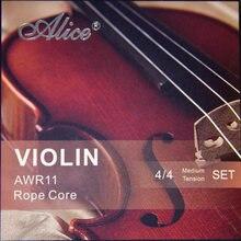 Cordes violon Alice de haute qualité AWR11, noyau formulé pour l'excellence, ensemble de Tension Meddium 4/4