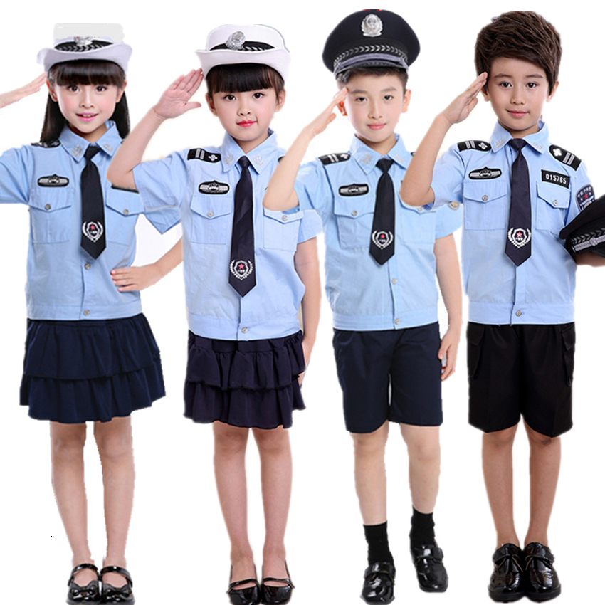 Special Force Halloween Costumes For Kids Disguise Policeman Infant Girl Scout Boy Cosplay Police Uniform Fancy Carnival Party