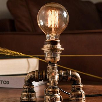 American archaize copper desk study bedroom the head of a bed originality restores ancient ways industry wind conduit desk lamp
