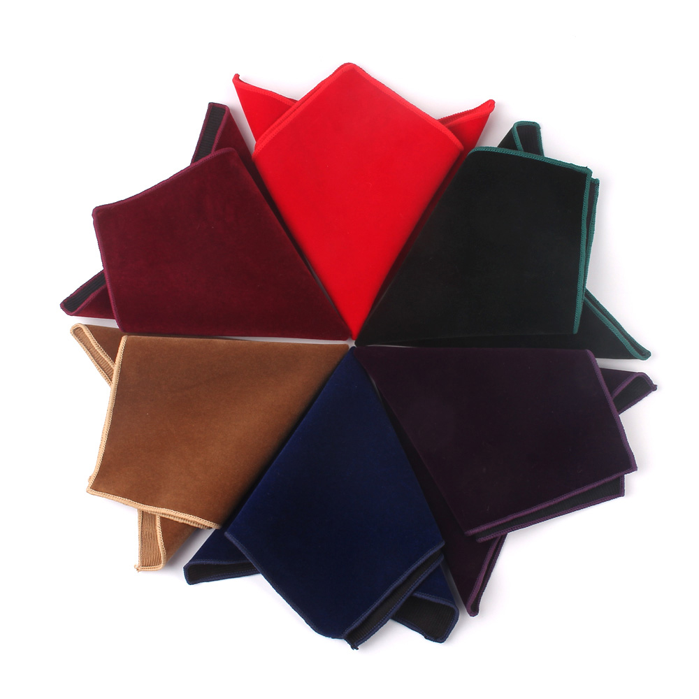 New Solid Pocket Square For Men Red Black Hanky Mens Handkerchiefs Casual Suits Square Handkerchief Towels For Party Scarves