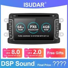 Isudar 1 Din PX6 Auto Radio Android 10 For Dacia/Sandero/Duster/Renault/Captur/Lada/Xray 2/Logan2 Car Multimedia Video Player