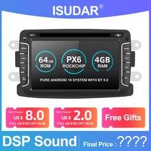 Isudar 1 Din PX6 otomobil radyosu Android 10 Dacia/Sandero/silgi/Renault/Captur/Lada/xray 2/Logan2 araba multimedya Video oynatıcı