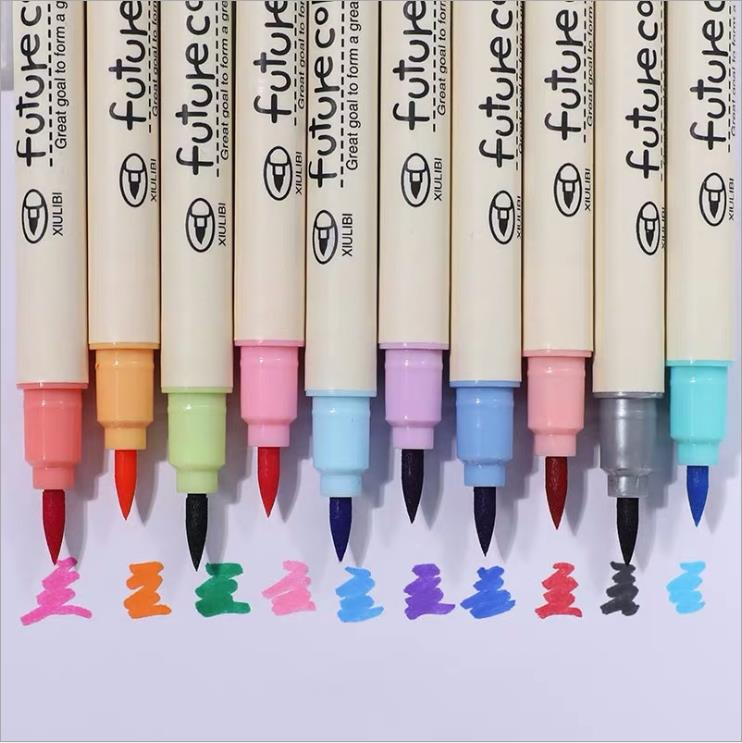 10pcs/lot Cute  Fabricolor Write Brush Pen Colored Marker Pens Set For Calligraphy Drawing Supplies For Kids Gifts