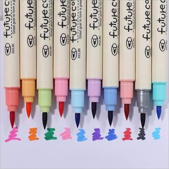 цены 10pcs/lot Cute Fabricolor Write Brush Pen Colored Soft Marker Pens Set For Kids Gift Art Calligraphy Drawing Supplies Stationery