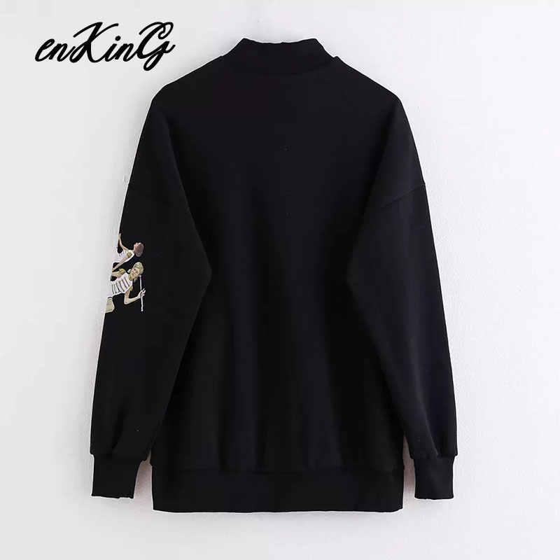 2019 winter hoodies women high street letter and girls printing 100% cotton oversize boyfriend sweatshirt pullovers tops