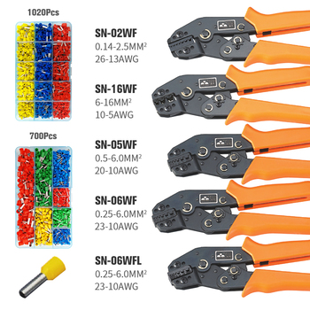 KWANYIK Insulated/Non-Insulated Terminal Ferrules Crimping wire stripper Tools Mini European Style Pliers Set 50pcs crimping type non insulated pipe bare terminal connector for 18awg wire page 3