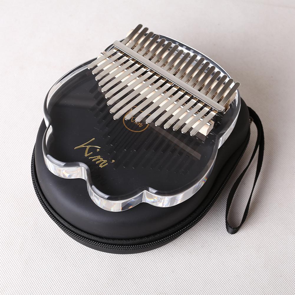 Kimi Cute Cat Claw Shaped 17 Key Kalimba Acrylic Thumb Piano Sanza Transparent Keyboard Instrument with Tuner Hammer + Gig Bag