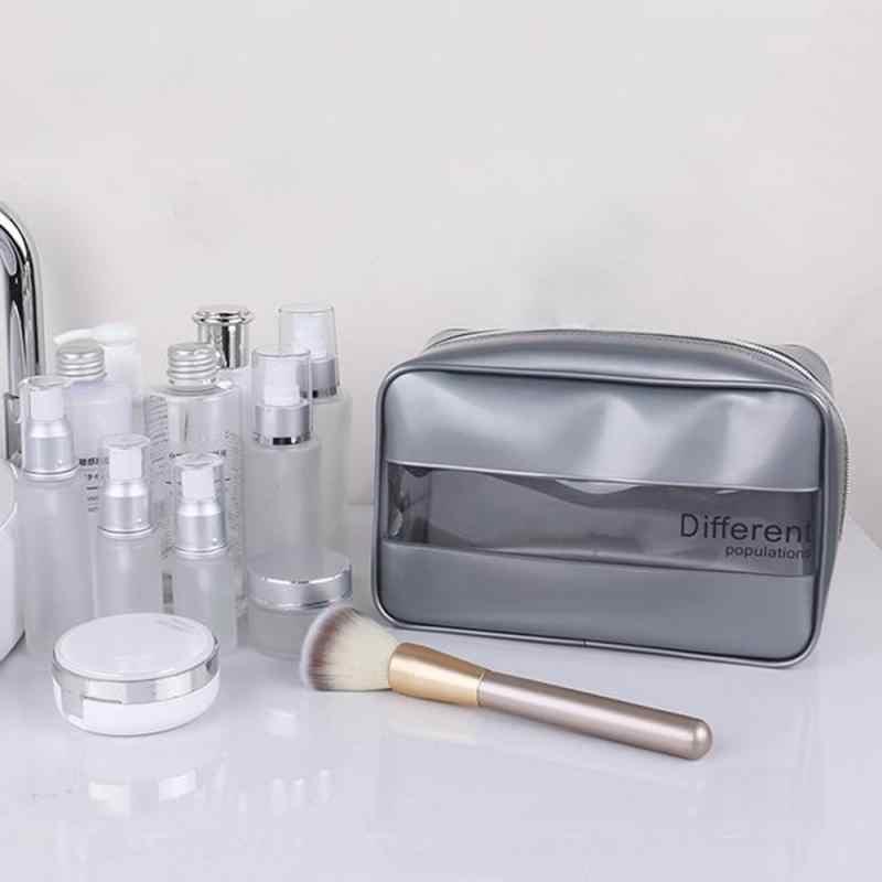 PVC Taschen Reise Veranstalter Klaren Make-Up Tasche Lagerung Kosmetikerin Kosmetik Tasche Beauty Case Kultur Tasche Make-Up Tasche Waschen Taschen Weiß