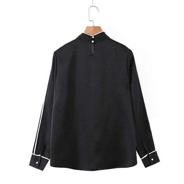 ZA 2020 New Fashion Women Patchwork Solid color chiffon shirt Blouses bowknot Long Sleeve Chiffon Shirt Casual Loose Tops 3