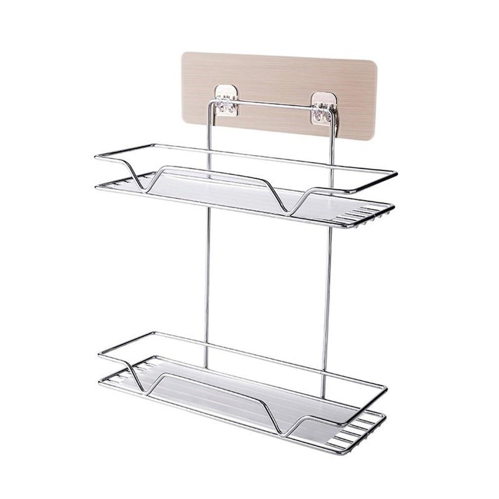 Permalink to Wall-mounted Kitchen Basket Free  Perforated Paste  Wall-mounted  Perforated Layer Storage Box Without Trace Kitchen Rack