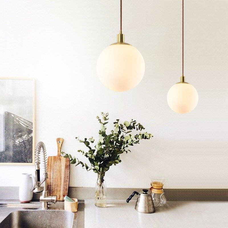 Brass Glass A Chandelier Modern Concise Originality A Living Room Restaurant Bar Counter Bedroom Bedside Lamp Hotel Round Ball A