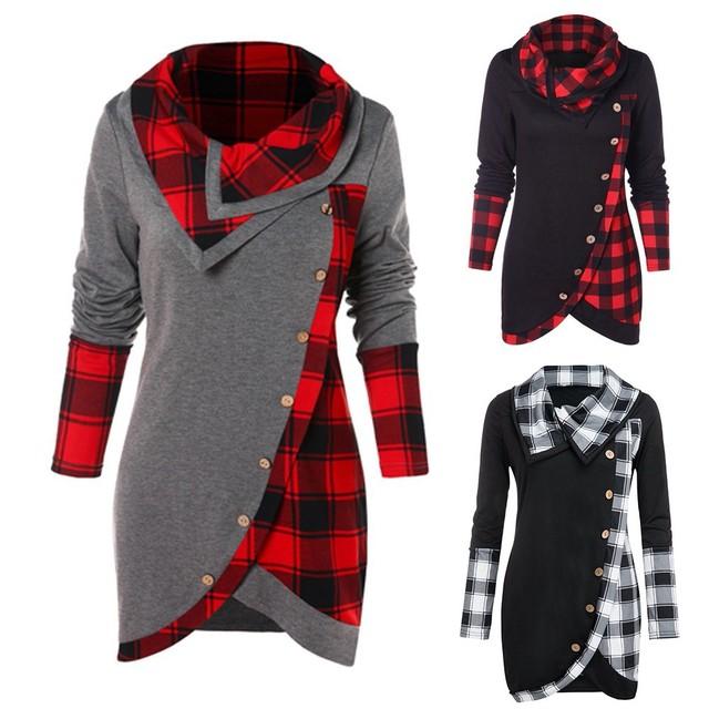 Blouse Women Long Sleeve Irregular Hem Plaid Button Turtleneck Tartan Tunic Pullover Tops 2019 Shirt Tops Blusas Feminina d5