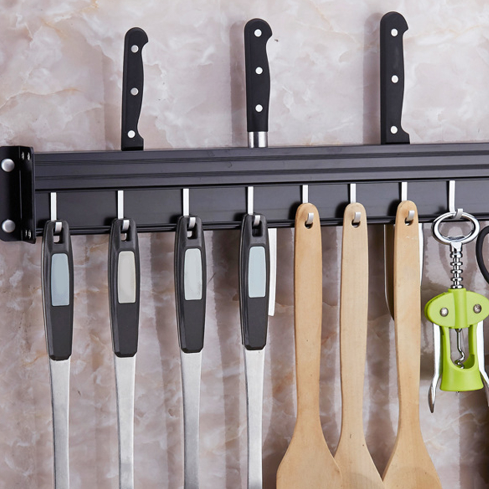 With Hook Utensil Shelf Kitchen Cabinet Storage Rack Household Seasoning Bottle Wall Mounted Accessory No Drilling Pantry Tool