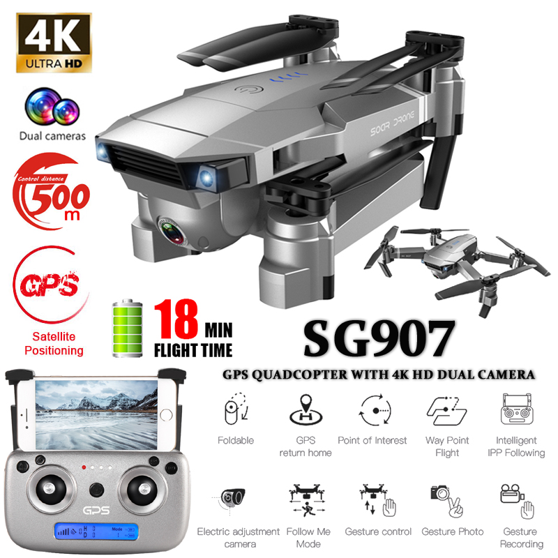 SG907 GPS Drone With 4K HD Adjustment Camera Focal Length Wide Angle 5G WIFI RC Quadcopter Professional Foldable Drone E520S E58