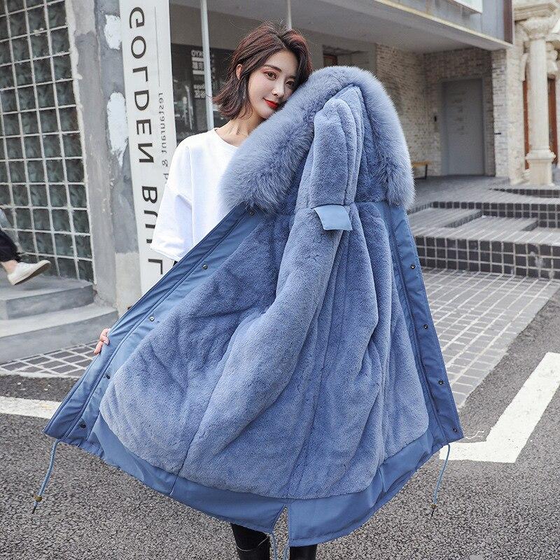Winter Jacket Women Plus Size S-3XL Cotton Fur Hooded Puffer Jacket Female Blue Lady Parka Coats Womens Jacket Clothes Outerwear