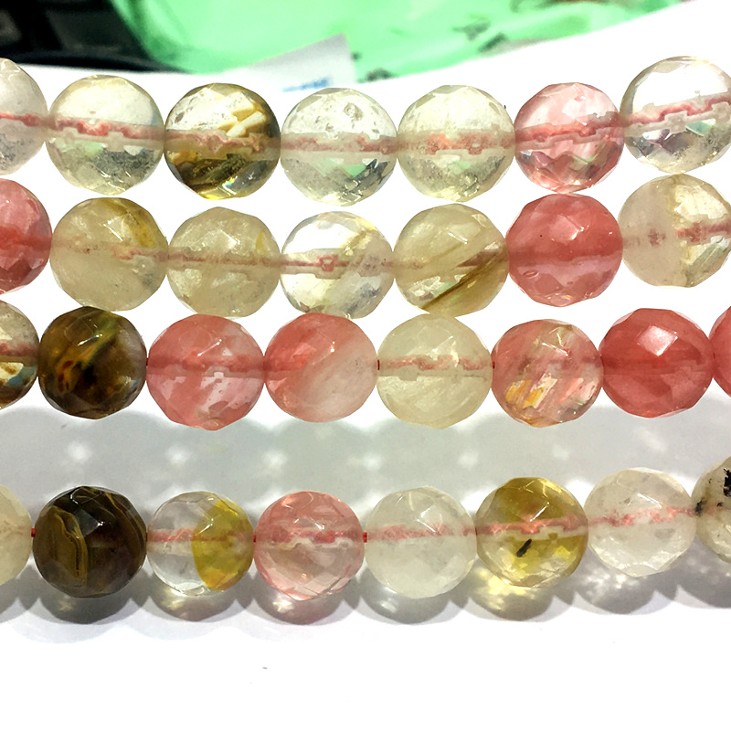 Factory price Multicolor <font><b>Watermelon</b></font> <font><b>Tourmaline</b></font> <font><b>Stone</b></font> 8mm Faceted Round Crystal Loose Beads Elegant Jewelry Making 15inch F133GS image