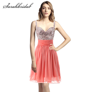Image 1 - Short Juniors Homecoming Dresses Formal 2020 Sweetheart Sequins Pleat Chiffon Backless Graduation Evening Party Prom Gowns SD016