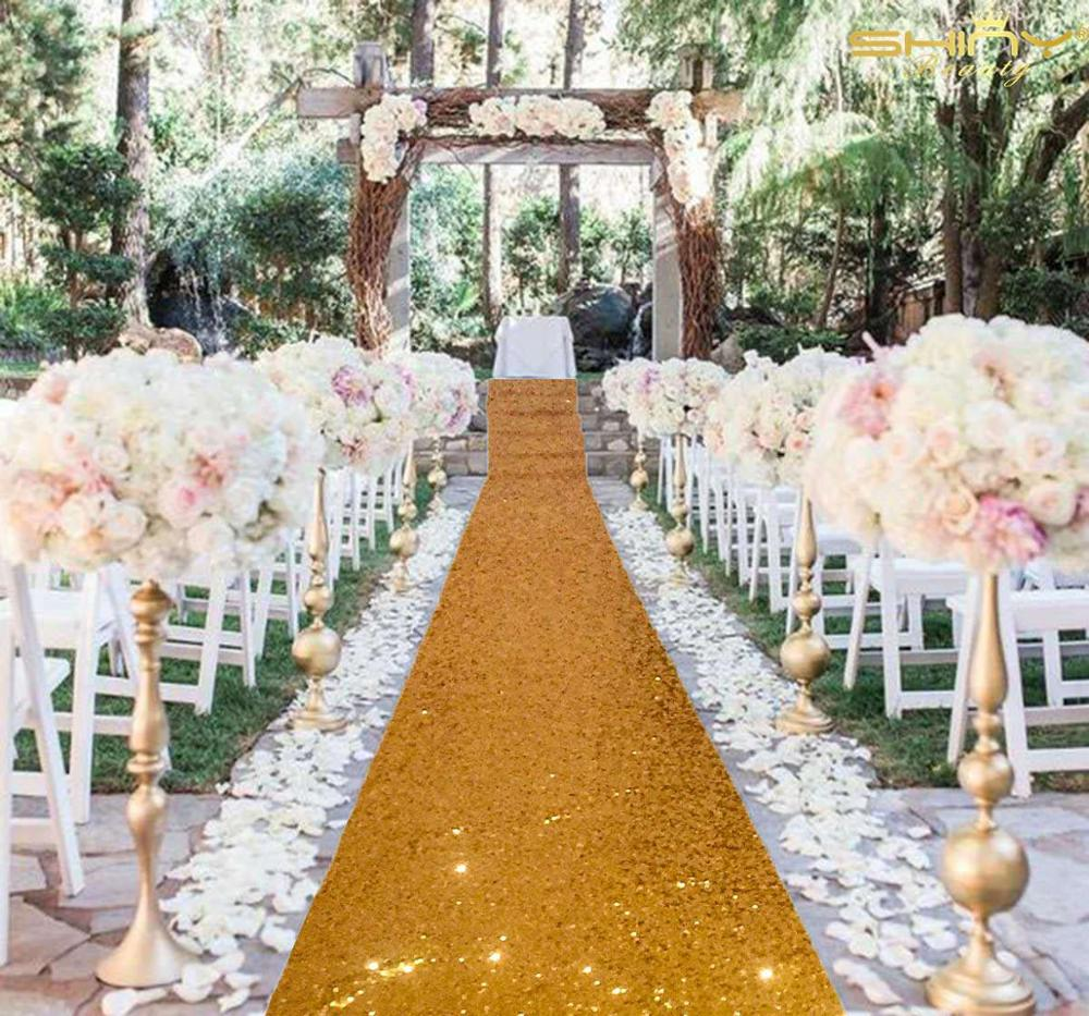 Wedding Aisle Runner 4FTX 10FT Gold Sequin Aisle Runners For Wedding Ceremony Decorations Aisle Carpet Wedding Floor Carpet-M