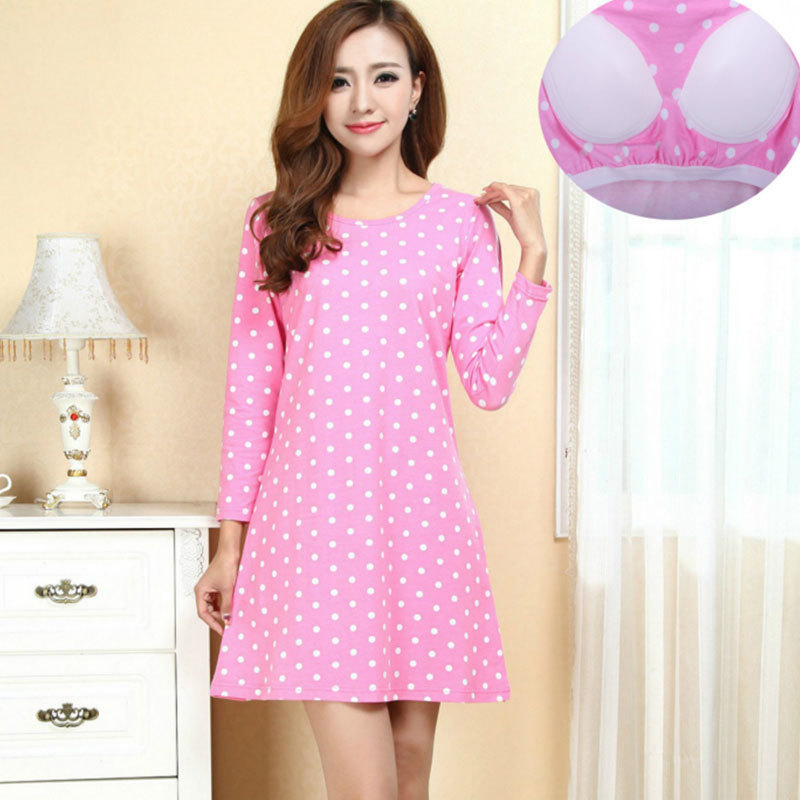 Spring And Autumn New Style WOMEN'S Long Sleeve Nightgown With Chest Pad Youth Fashion GIRL'S Students Home Pajamas