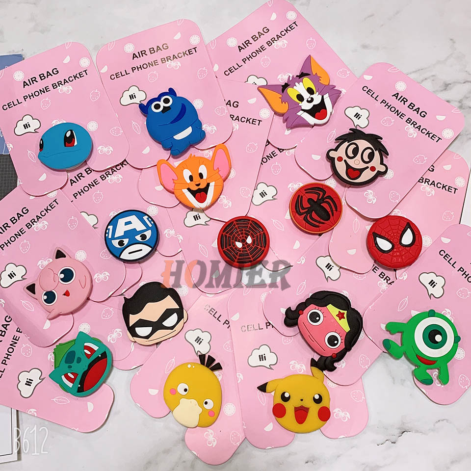 Cartoon Universal Mobile Phone Ring Holder Airbag Gasbag Fold Stand Bracket Mount For IPhone XR XS Samsung Huawei Xiaomi