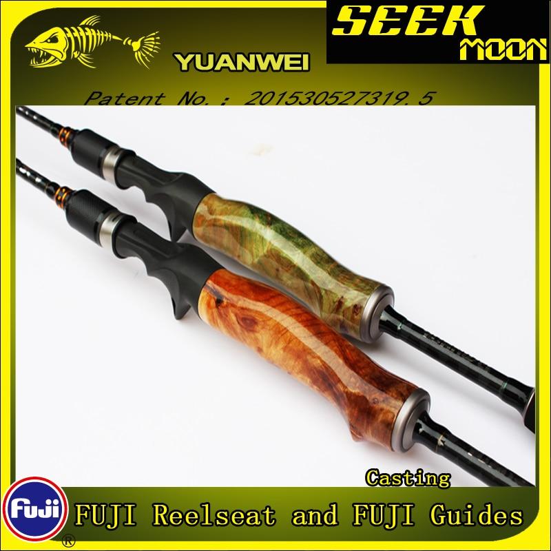 yuanwei 1 98m 2 1m spinning fundicao pesca rod 2sec ml m mh raiz de madeira