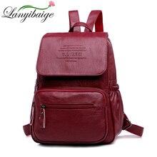 حقائب الظهر الفاخرة النساء مصنوع من البولي يوريثين عالية الجودة بولي Leather حقيبة جلدية الإناث الحقائب المدرسية لفتاة حقيبة أنيقة ذات سعة كبيرة السفر با