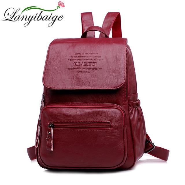 LANYIBAIGE sac à dos en cuir PU pour femmes, sac décole de luxe de bonne qualité, à la mode, grande capacité, pour voyage Ba