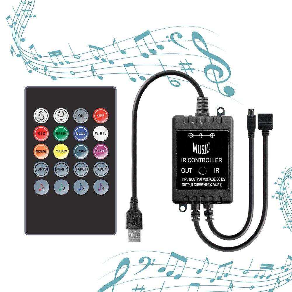 5V RGB Controller LED Strip 20Key Music Controller Micro USB 5 V LED Controller 2835 5050 Lighting Strip Wireless Remote Control
