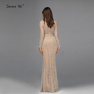 Image 3 - Dubai Luxury Long Sleeve Sparkle Tassels Evening Dresses 2020 Sequined Beading Sexy Robe De Soiree Plus Size BLA60707