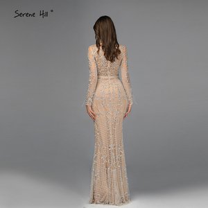 Image 3 - Dubai luxo manga longa brilho borlas vestidos de noite 2020 lantejoulas beading sexy robe de soiree plus size bla60707
