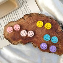 Blue Earrings Women Jewelry Acrylic Face Smiling Purple Cute Gifts Cartoon for The New-Year